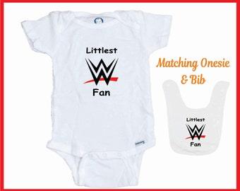 WWE Littlest Fan Onesie / Bib Combo  Makes a Great Gift