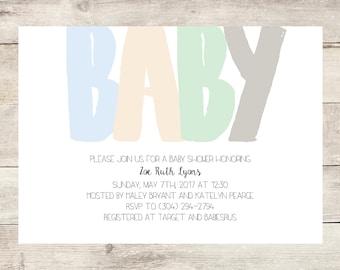 Gender Neutral Typography Baby Shower Invitation