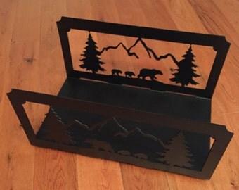 Bear Themed Steel Kindling Rack