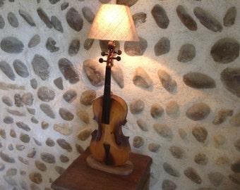 "Wonderfully Original, Vintage French ""Violin"", Lamp Stand. Repurposed Musical Instrument , Fantastic Design!"