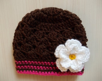 Baby girl hat Brown baby hat Crochet girls beanie Newborn girl hat Baby girl beanie Flower baby hat Crochet newborn hat Newborn beanie
