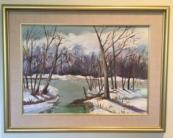 Winter Landscape, with water - Mid Century - Large oil painting on board - Gloria Eggleston