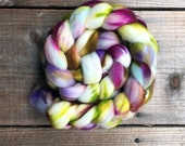 LOTUS FLOWER color, Superwash Targhee spinning fiber, roving, handpainted, hand dyed, combed top, domestic, American made, wool