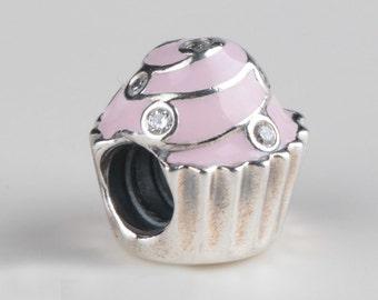 Wholesale lot 2pcs/lot  S925 Sterling Silver  cupcake   Charm  bead  diy   bracelet