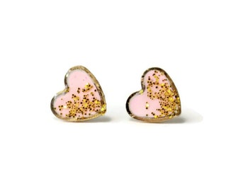 Heart stud earring - Valetines Day gift -Valentine stud earrings - Pink glitter stud earring - Heart shaped earring - Heart jewelry
