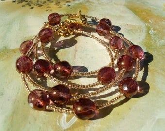Czech glass bead set bracelet chain purple gold coated