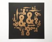 SALE! Letterpress Handmade Print - Ampersands