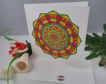 Birthday Greeting Card Mandala Green-Red design + envelope spiritual card bohemian card flowery card