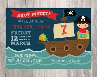 Pirate Invitation, Printable Pirate Birthday Party Invite, Pirate Ship Invitation, Boy Birthday Party Pirate Themed Invitation