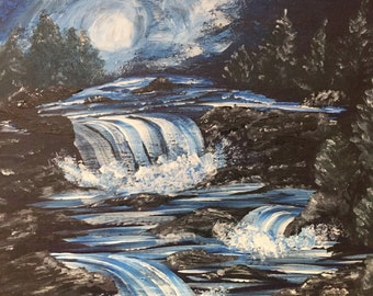 Night time waterfall on wooden plaque