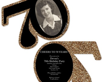 70th Birthday Invitations - Adult 70th Birthday - Gold Personalized Photo Birthday Party Age-Shaped Invites - Set of 12