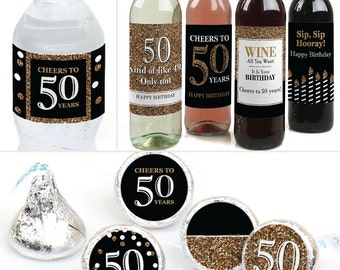 50th birthday party decorations favors kit wine water and candy labels trio sticker - 50th Birthday Party Decorations