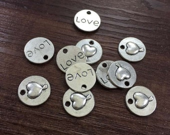20pcs Antique Silver 15mm Love Charms.Love Pendants.  Charms Bracelet