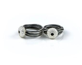 Sea Urchin Ring, shell jewellery, beach jewellery, oxidised ring, handmade ring, bespoke ring, spaghetti ring, shell ring.