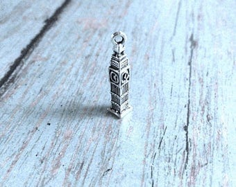 8 Big Ben charms 3D antique silver tone - silver Big Ben pendants, London charms, travel charms, Europe charms, world traveler charms, AA12