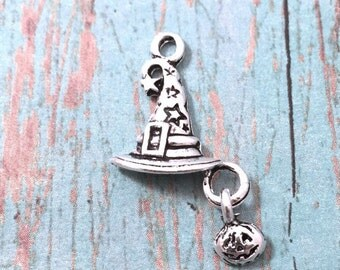 8 Witch hat with pumpkin charms (1 sided) antique silver tone - witch hat pendants, Halloween charms, wizard hat charm, pumpkin pendant, XX1