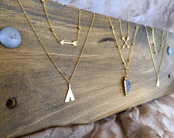 Tribal Warrior Arrow & TeePee Necklaces - 24k Gold Plated