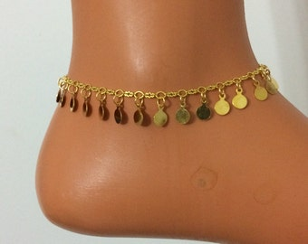 gold anklet, gold coins ankle bracelet, body chain , body jewelry