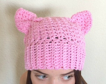 Halloween Costume- Womens Hats- Pink Pussycat Hat- Pink Kitty Hat- Pink Pussyhat- Pink Cat Hat- Cat Hat- Gift for Her- Womens Accessories