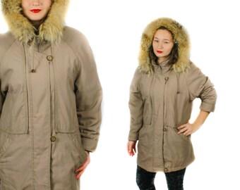 Eskimo Parka, Fur trim parka, Beige parka, Vintage parka, Long parka, Fur Trim coat, 90s parka, Hood Parka, Hooded parka / Medium Large