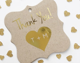 Wedding Favor Tags, Gold Foil Thank You Initials in Heart, Kraft Custom Wedding Tags, Custom Wedding Hang Tags  (FS-103-FKR)