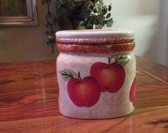 Beautiful Vintage Glazed Ceramic Red Apple Design Smal Canister
