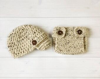 Ready Ship ! Newborn / 0-3M Baby Boy Photo Prop Handmade Crochet Diaper Cover, Crochet Diaper Cover and Hat Set * Oatmeal