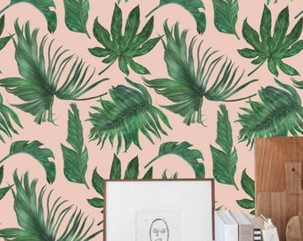 self adhesive wallpaper, removable wallpaper, tropical of décor, botanical, jungle kingbe, exotic leaves, banana leaf, peel & stick, # 30