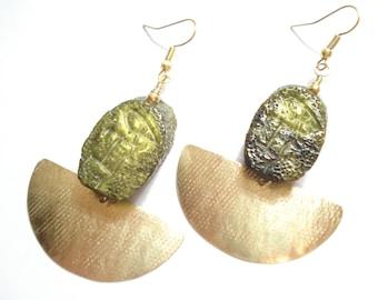 Hammered Bronze Pendulum Olive Green Beaded Unique Earrings Modern Metalwork Crescent Earrings