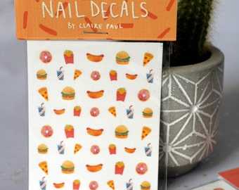 Fast Food Waterslide Nail Decals // Pizza Burger Hotdog Donut // Transfers
