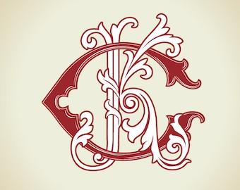 Wedding logo CK, KC | Vintage Monogram  | Wedding Clip Art