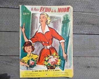 """1954  Vintage French women journal  """"Le Petit Echo de la Mode"""" ."""