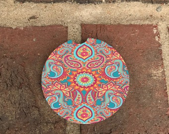 Colorful Paisley Car Coaster/ Absorbent Stone car coasters(set of 2) Personalized Car Coasters, Lilly Pulitzer Inspired coasters(set of 2)