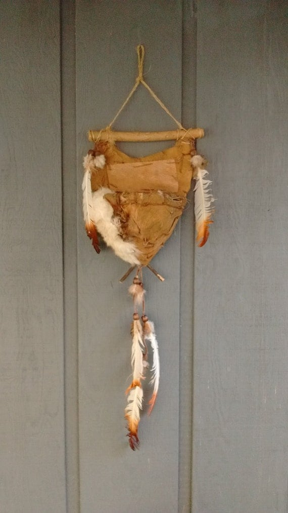Native American-Vintage Primitively Handmade Birch Bark Wall Decoration-free shipping