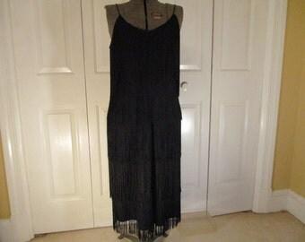 Vintage Lisa Cole fringed flapper style size 12 dress