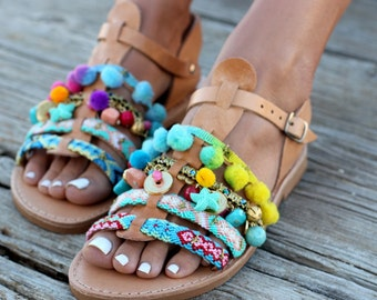 "Artisanal leather sandals, Gladiator Sandals, Greek Leather Sandals, Pom pom sandals, Handmade Sandals ""Bora Bora"""