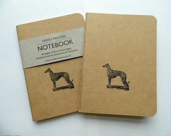 Letterpress notebook whippet greyhound dog - small Kraft moleskin style hand-printed 56 pages