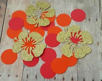 225 Hibiscus Confetti, Luau Confetti, Tropical Party Decorations, Tropical Confetti, Luau Invitation, Luau Birthday, Luau Party Decorations