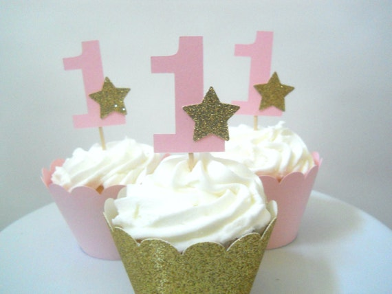 Twinkle Twinkle Little Star First Birthday Decorations Star Cupcake Toppers One Cupcake Toppers Pink Gold Star Cupcake Toppers Pink Gold