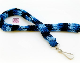 Crochet Retro Woven Lanyard ID Badge Holder, Blue Mix Colour, Swing Clip, Crochet Lanyard, Gifts For Her, Gifts For Him, Blue