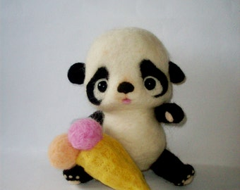 felt panda toy, eco toy, nursery decor