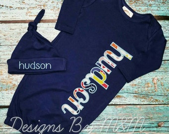 Personalized Baby Gown, Baby Boy Gown, Baby Gown, Name Gown, Personalized Boy Gown