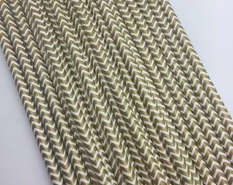 Gold Chevron solid Paper Straws 25PC