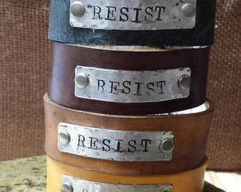 Resist Rustic Leather bracelet with stamped metal tag