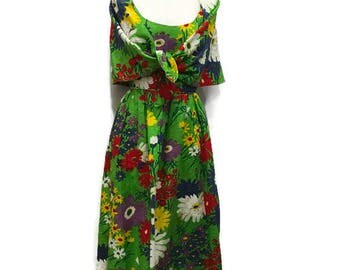 60's Floral Maxi Dress with Cape/Shawl