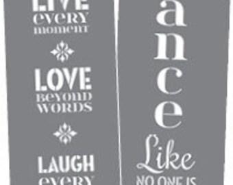 """6"""" x 18"""", Americana Decor Stencils, Live, Love, Laugh, Reusable Stencil, 2 Stencils"""
