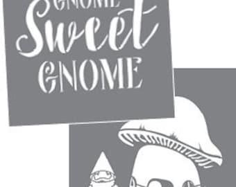 """Americana Decor, Gnomes, 8"""" x 8"""", 2 Stencils Per Package, Reusable Stencils"""