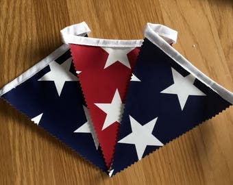 Handmade Outdoor Waterproof Bunting | American  Party Red Blue Stars