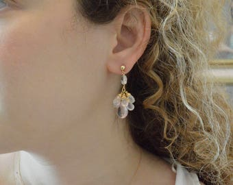 Mystic gold-filled earrings with pink quartz.