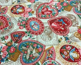 Victorian valentine print fabric ~Cream~ SO PRETTY